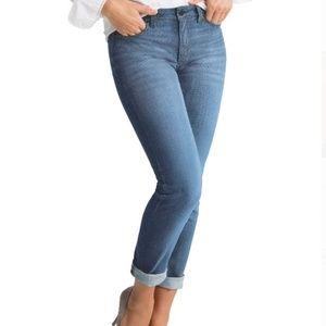 SPANX Slim-X Casual Cuffed Blue Jeans Size 27 EUC
